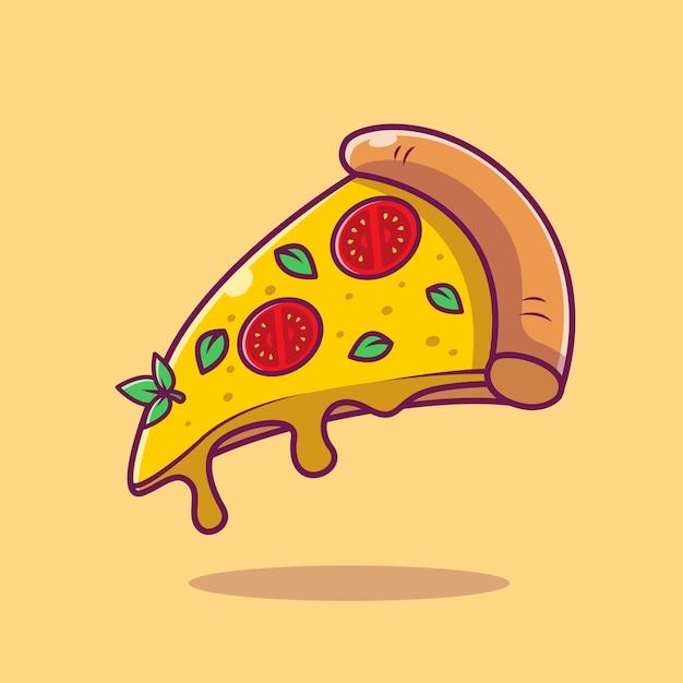Летающий кусок пиццы мультфильм векторные иллюстрации. концепция быстрого питания изолированных вектор. плоский мультяшном стиле Бесплатные векторы