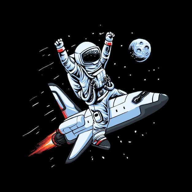 Flying spaceship astronaut illustration Premium Vector