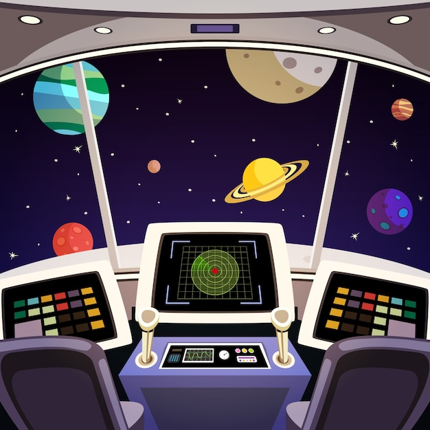 Flying spaceship cabin futuristic interior\ cartoon with space backdrop vector illustration