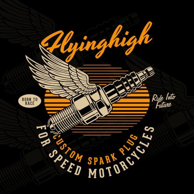 Flying sparkplug illustration Premium Vector