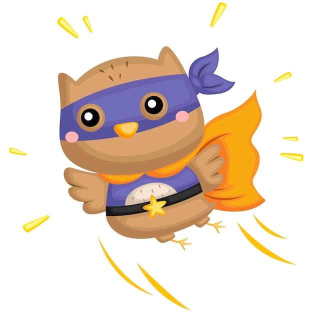 Flying superhero owl Premium Vector