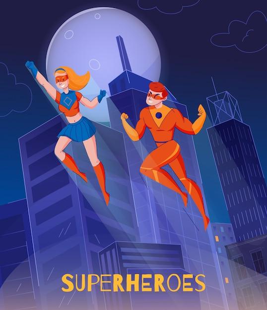 夜市タワーコミックスワンダーウーマンスーパーマンキャラクター背景ポスターの上に高騰飛行のスーパーヒーロー 無料ベクター