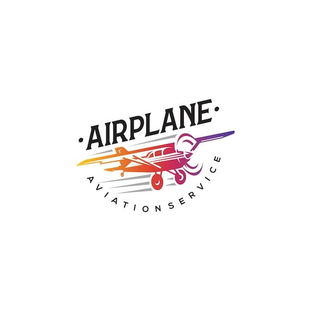 Логотип самолета, этикетки и элементы эмблемы Premium векторы