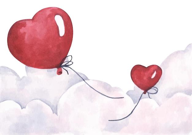 空を飛んでいるバレンタインの赤いハートの風船。愛と恋愛カード。水彩。 Premiumベクター