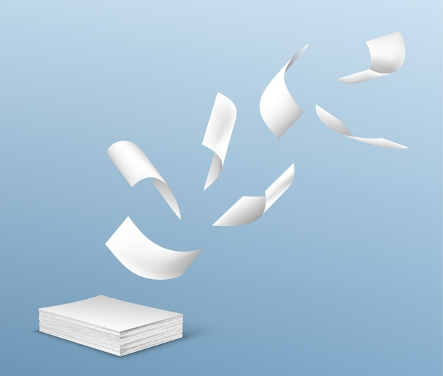 Flying white paper sheets from stack of documents Free Vector