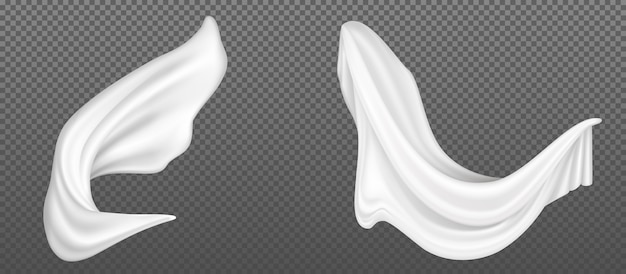 Flying white silk fabric Free Vector