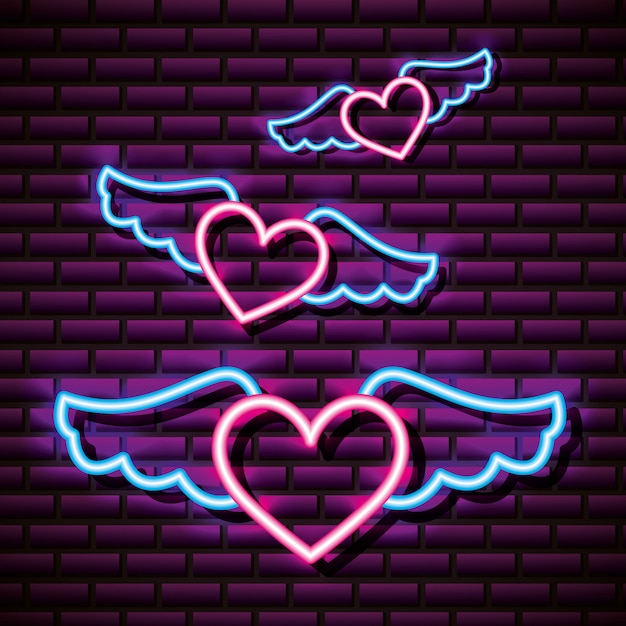 Flying winged hearts, brick wall, neon style Free Vector