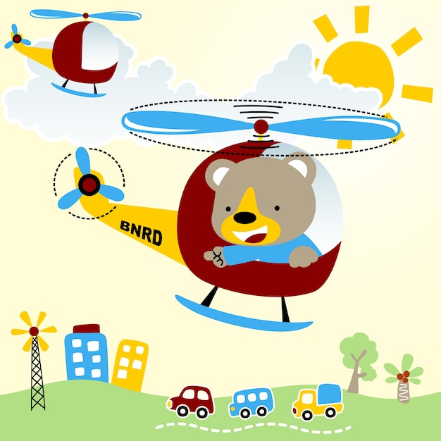 Flying With Helicopter Cartoon Premium Vector