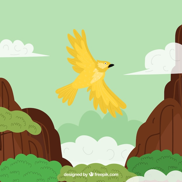 Flying yellow bird background