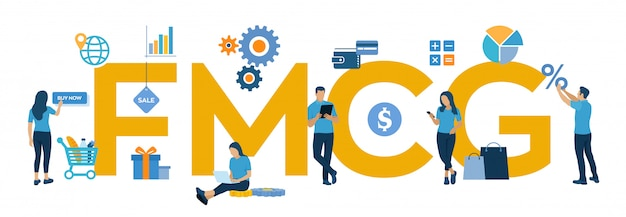 Fmcg。動きの速い消費財の頭字語。動きの速い商品、短期商品。 無料ベクター