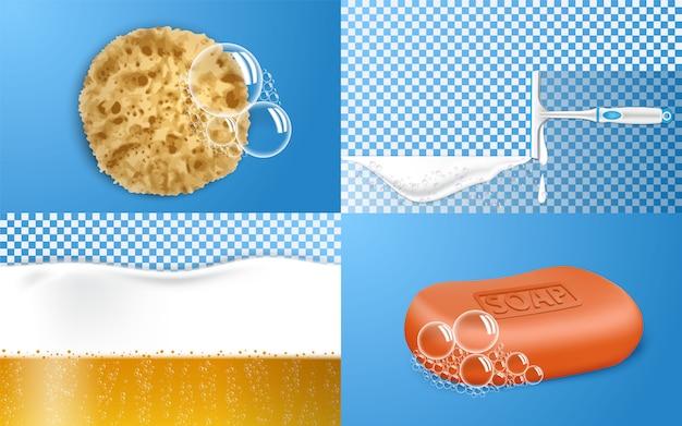 Foam effect banner set Premium Vector
