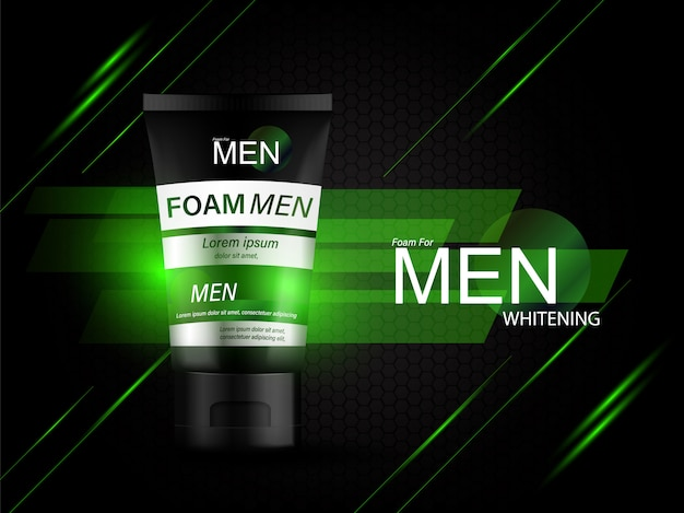 Foam for men bottle products serum background for skin care cosmetics. Premium Vector