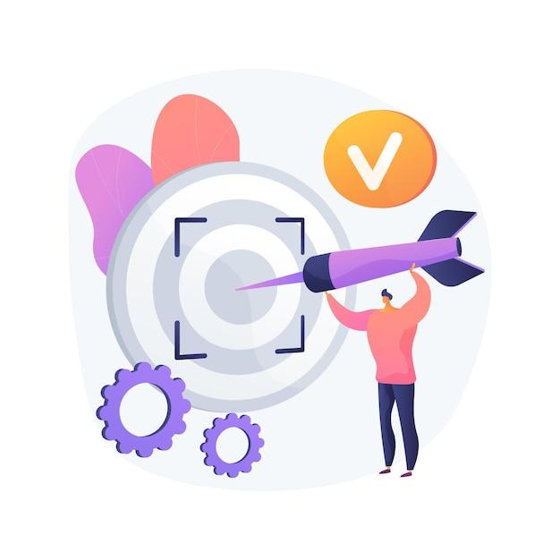 Фокус абстрактное понятие векторные иллюстрации. концентрация обучения, ориентация на успех, определенная бизнес-цель, ориентация на цель, центр внимания, фокус, абстрактная метафора внимания. Бесплатные векторы