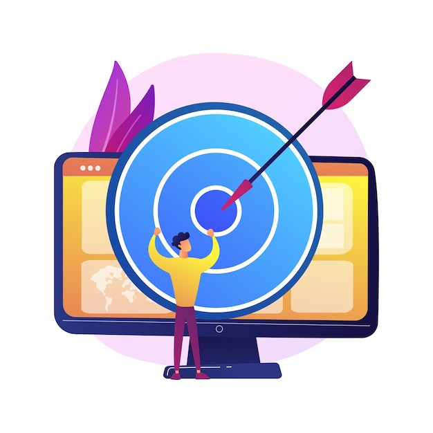 Focus group business research. data analytics company profitable strategy planning. dartboard on computer monitor. corporate goals and achievements. Free Vector