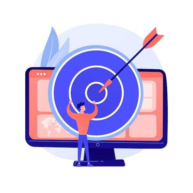 포커스 그룹 비즈니스 연구. 데이터 분석 회사의 수익성있는 전략 계획. 컴퓨터 모니터에 다트 판이. 기업 목표와 성과 개념 그림 무료 벡터
