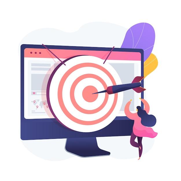 포커스 그룹 비즈니스 연구. 데이터 분석 회사의 수익성있는 전략 계획. 컴퓨터 모니터에 다트 판이. 기업 목표 및 성과. 무료 벡터
