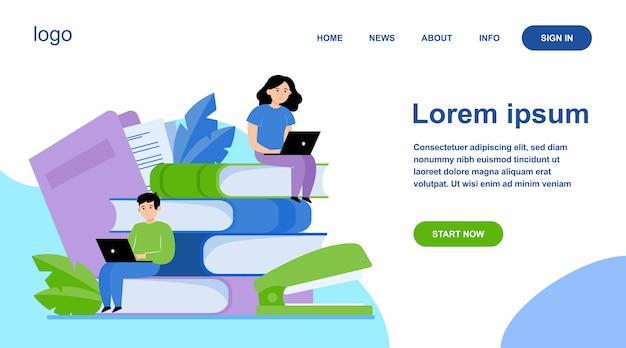 Focused people studying in online school Free Vector