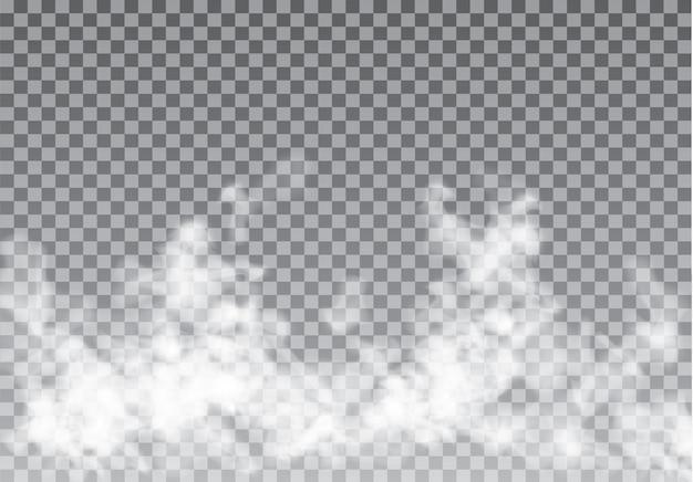 Туман или дым изолированные прозрачный спецэффект. Premium векторы