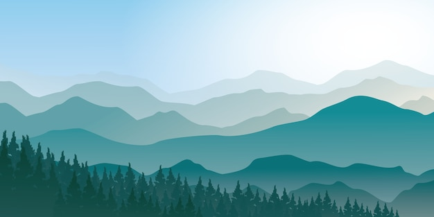 松林の景観を持つ霧の山々。青い山の風景ベクトルイラストレーター Premiumベクター