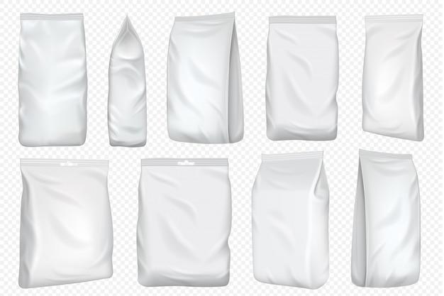 Фольга пластиковый пакет и бумажный пакет шаблон. пустой пищевой фольги для закуски, изолированные на прозрачном фоне. белая упаковка макет для кофе и чая дизайн упаковки. Premium векторы