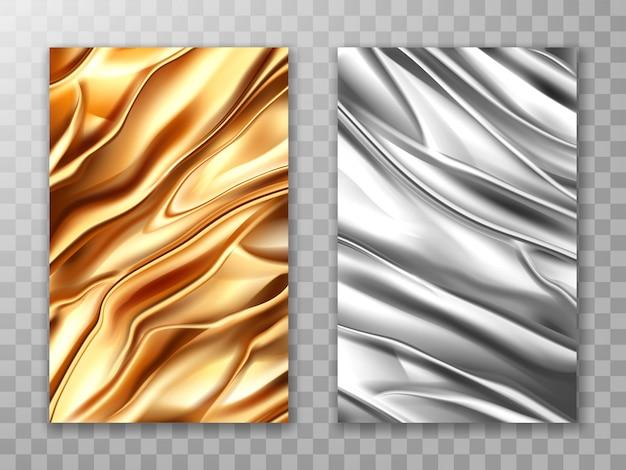 箔金と銀、しわくちゃの金属のテクスチャセット 無料ベクター