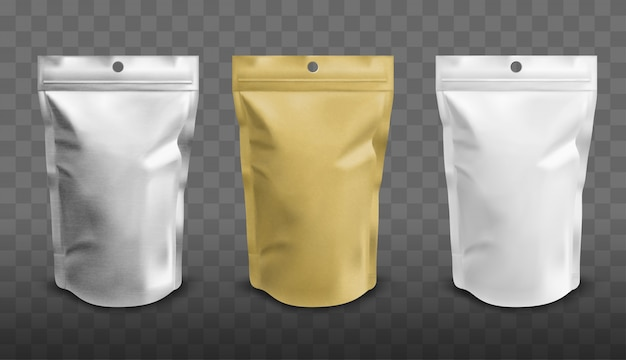 Foil pouch with zipper, doypack for food Free Vector