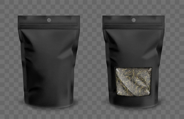 Foil pouch with zipper and plastic window for tea Free Vector