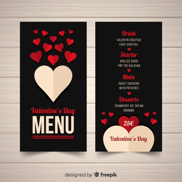 Fold heart valentine's day menu Free Vector