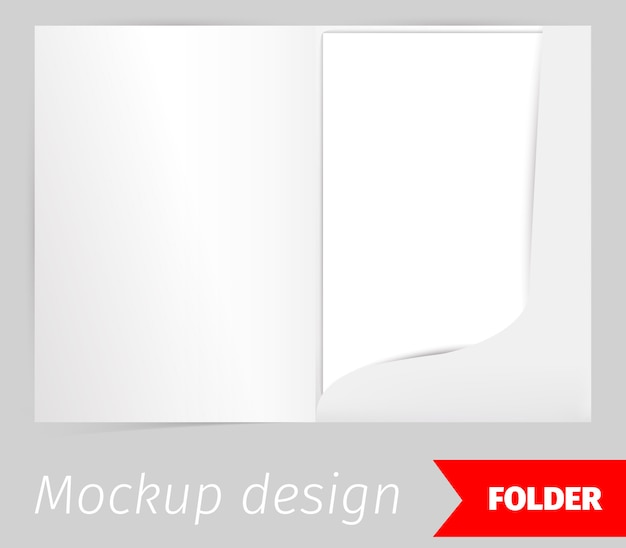 Fold realistic mockup design with shadow effect Free Vector