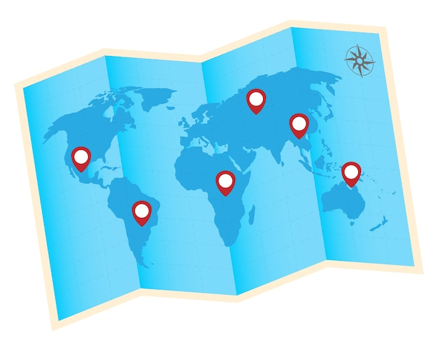 Fold world map with red gps icon vector premium download fold world map with red gps icon premium vector gumiabroncs Image collections