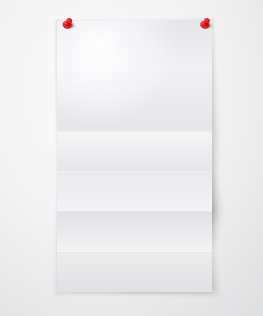 Folded blank paper sheet with pushpins Free Vector