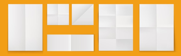 Folded blank posters, white paper sheets with crossing creases Free Vector