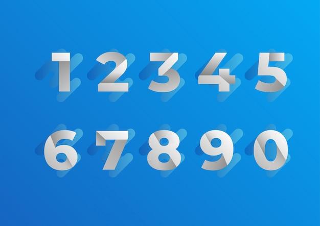 Folded blue numbers set Premium Vector