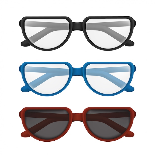 カラフルなフレーム-黒、青、赤で設定された折りたたみメガネ。白い背景で隔離の透明なレンズで読書や太陽の保護のためのエレガントな古典的なアイウェアのイラスト Premiumベクター