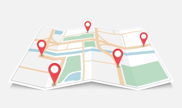 Folded paper city map with red pin pointer Premium Vector