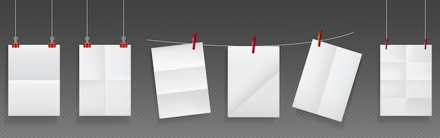 Folded paper hang on rope and pins, white paper blank sheets of wrinkled texture. Free Vector