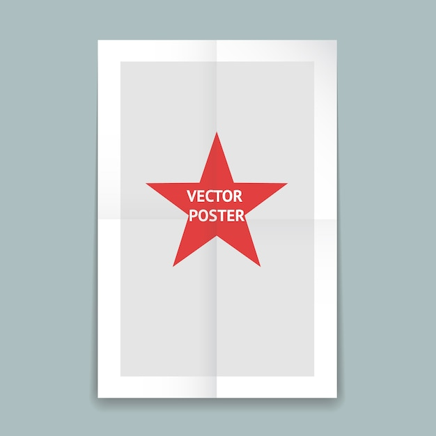 Шаблон плаката из сложенной бумаги с линиями сгиба и красной звездой в центре Бесплатные векторы
