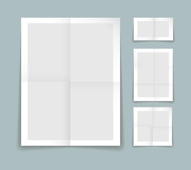 白い境界線を持つ灰色の紙の4つの異なるシートで折り畳まれた紙テンプレート Premiumベクター