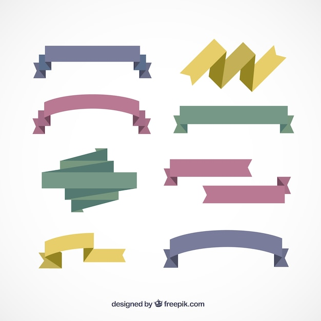 folded ribbon collection vector free download