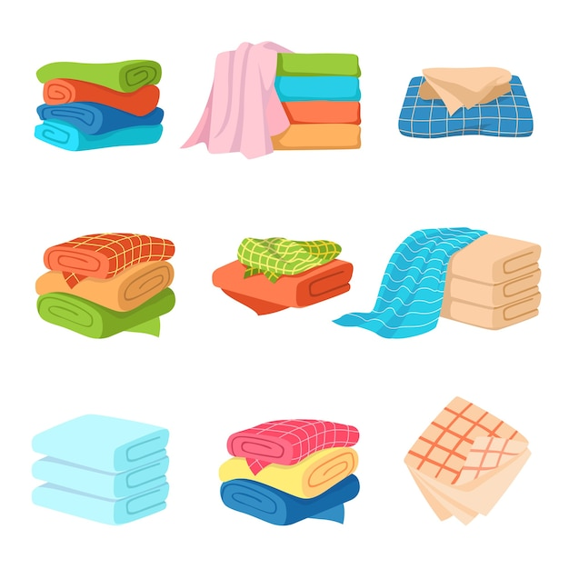 Folded towel. soft fashion fabric cotton color towels for fresh kitchen or bath Premium Vector