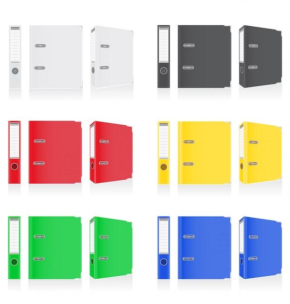 Folder colors binder metal rings for office. Premium Vector
