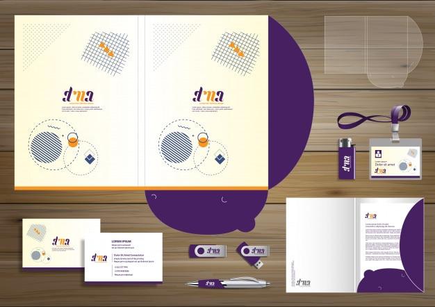 Folder corporate identity design digital business stationery Premium Vector