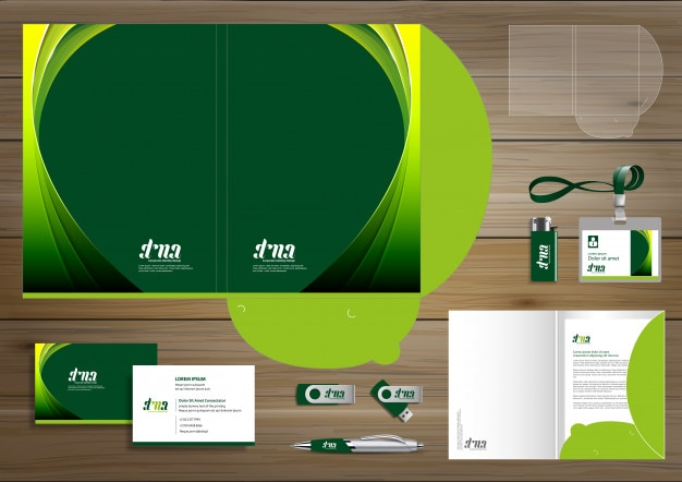 Folder corporate identity design digital business stationery Premium Vector
