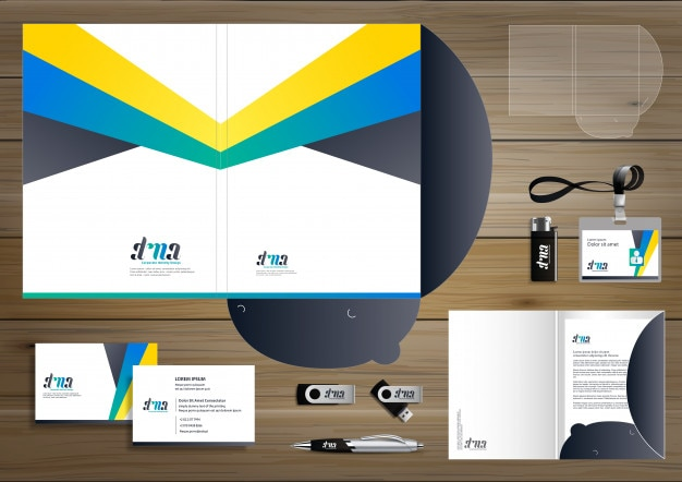 Folder corporate identity design promotion stationery Premium Vector
