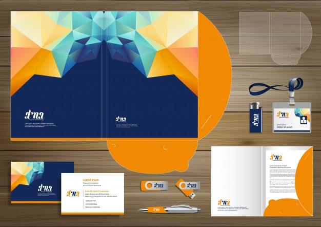 Folder corporate identity design promotion stationery Premium Vector
