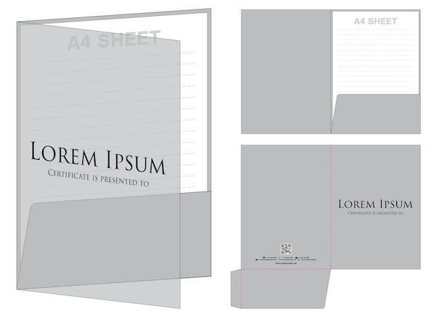Folder die cut mock up template vector Premium Vector