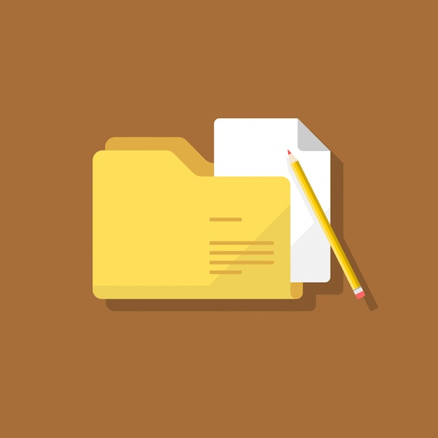 Folder document flat Premium Vector