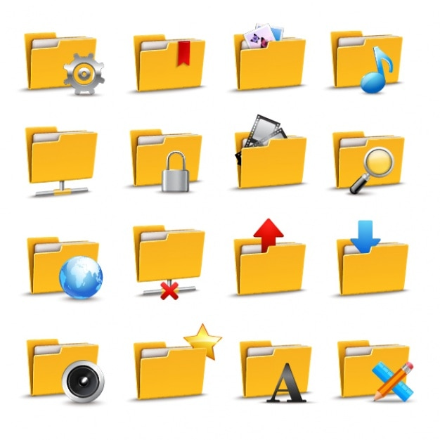 Folder icons collection Vector   Premium Download