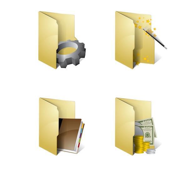 Folder icons Premium Vector