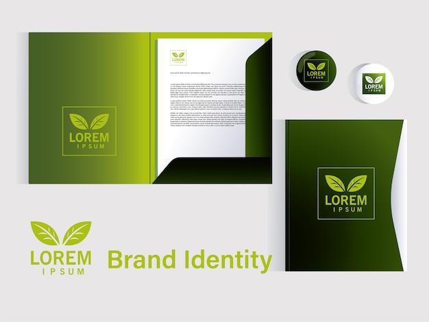企業イラストデザインのブランドアイデンティティの要素のプレゼンテーションのフォルダー Premiumベクター